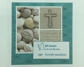 "Greeting card ""Best wishes,"" aqua, for congratulations on confirmation, confirmation or communion"