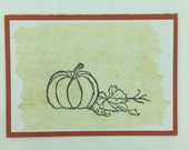 "Greeting card ""Pumpkin"" with tea paper for happiness and recovery wishes, thanks and birthday greetings"