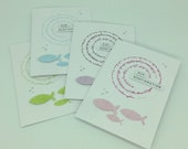 Greeting card for confirmation, confirmation or communion with stamped round text in pastel colours