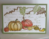 "Greeting card ""Pumpkin Time"" with hand-stamped pumpkin motifs"