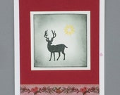 "Greeting card ""Christmas Star"" with deer motif"