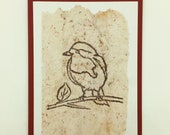 "Greeting card ""Red throat"" stamped on tea paper, for wishes for happiness and recovery, thank you or birthday greetings"