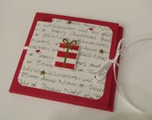 "Mini album card ""Noel"" with Christmas motifs in red"