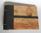 "Photo album ""Map across"" with pergamin and black pages, for travel memories"