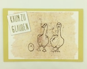 "Greeting card ""Hard to believe"" with geese motif, ideal for announcing offspring"