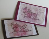 "Greeting card ""chicken family"" stamped on tea paper, for congratulations and greetings of all kinds"