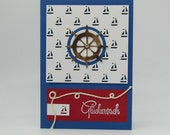 Maritime congratulations card with sailboats and steering wheel