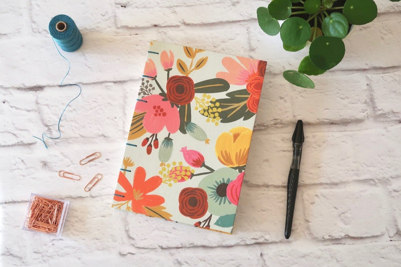 Mint Floral Handmade Journal 160 Graph Cream Pages image 0