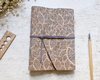 Natural Cork Leather A5 Hand Bound Traveler Journal, Writer Journal