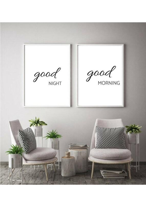 good night good morning quotes printable art prints wall