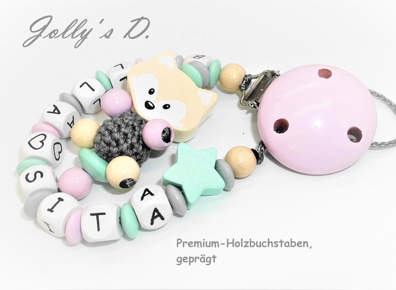 Stern Schnullerkette mit Doppelnamen Mädchen Doppelname rosa Teddy