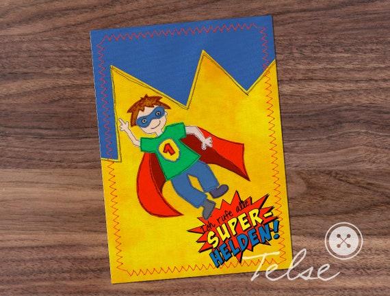 Einladungskarte Superheld | Etsy
