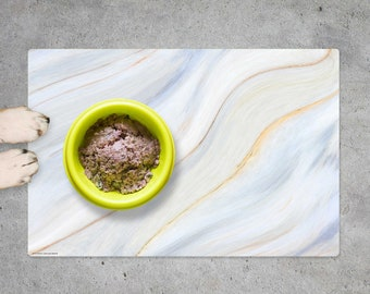 """Bowl pad   Lining mat """"Cream-coloured marble"""" made of premium vinyl - 60 x 40 cm - non-slip, washable, tear-resistant - Made in Germany"""