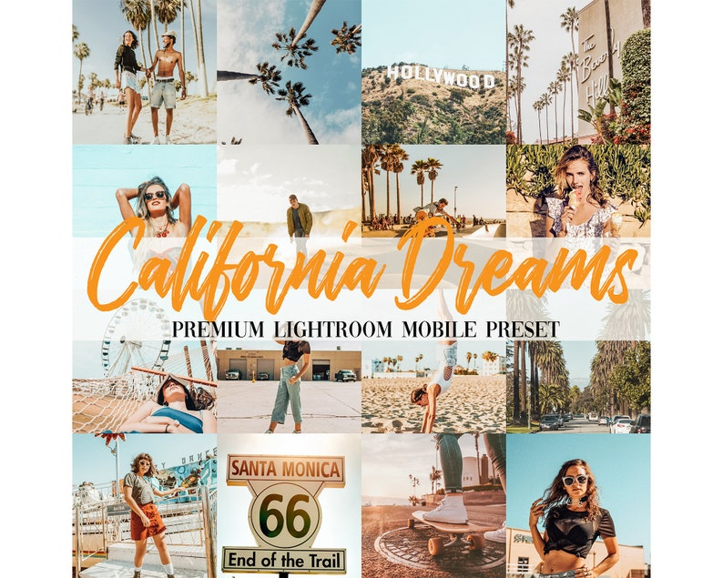 5 Premium Travel Mobile Lightroom Instagram Presets California Dreams For  Instagram Influencer Blogger Lightroom Filter Lifestyle Presets