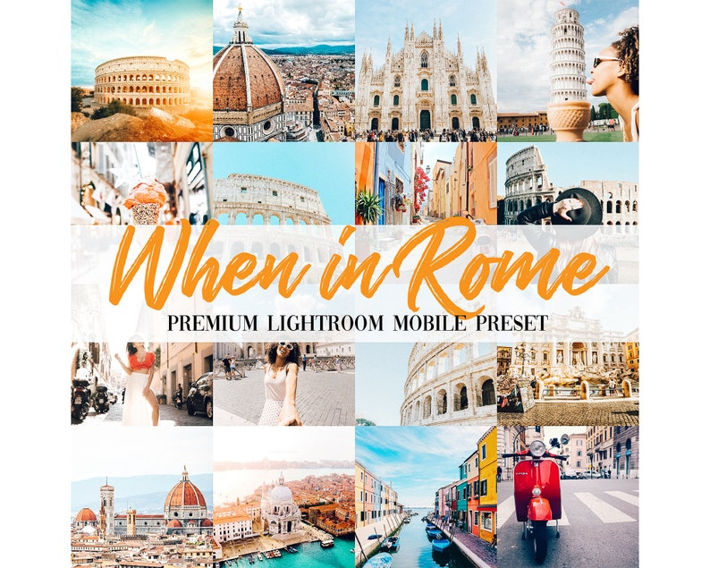 5 Premium Travel Mobile Lightroom Instagram Presets Italy When in Rome For  Instagram Influencer Blogger Lightroom Filter Lifestyle Presets