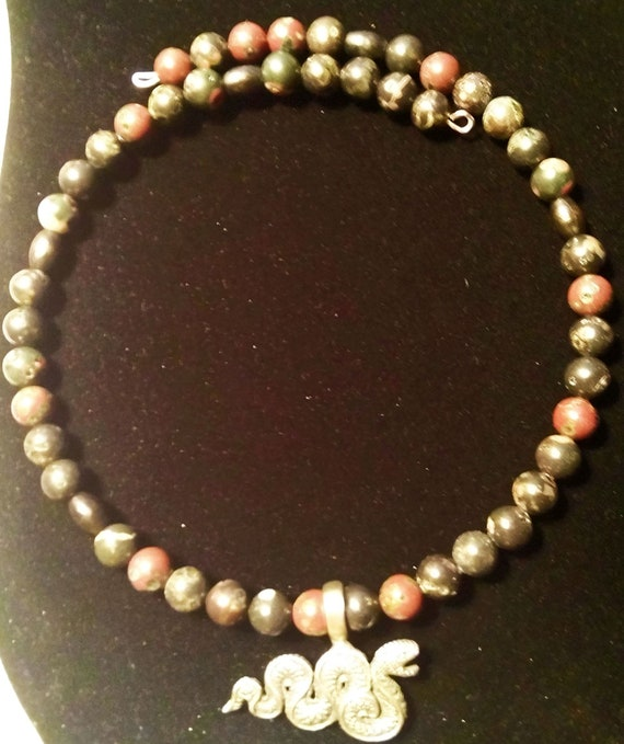 18 inches on Memory Wire Pewter Snake Necklace with Plum Jasper and Wood Beads