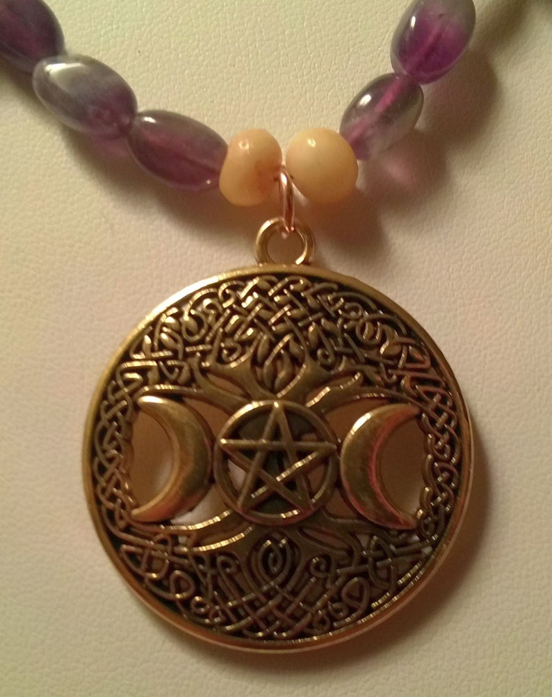 18 inches with Gold Screw Clasp Gold Pagan Triple Moon Tree of Life Necklace with Amethyst and Bone Beads