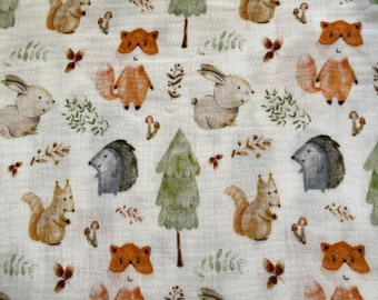 Muslin with small forest animals