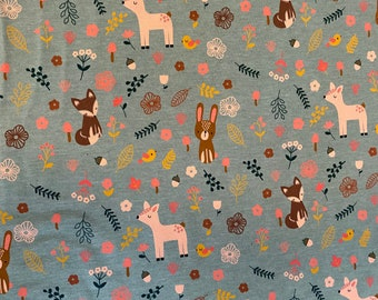 Cotton jersey with small deer