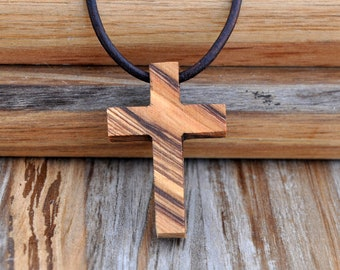 Wood Cross Necklace Etsy