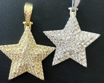 Details about  /Real 14kt and Rhodium Diamond Cut Moon; Stars; and Sun Pendant