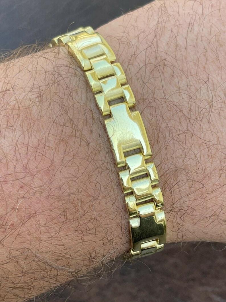 7.5 and 8.5 lengths available Men/'s 14k Gold Vermeil over Real Solid 925 Sterling Silver Plain Presidential Link Hip Hop Bracelet