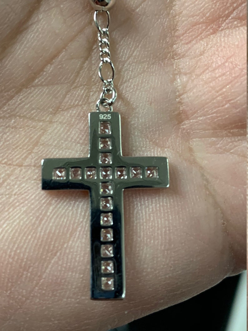 Men/'s Women/'s Custom made Solid 925 Silver Iced Out Baguette Rosary Beads Necklace Rosario 4mm beads