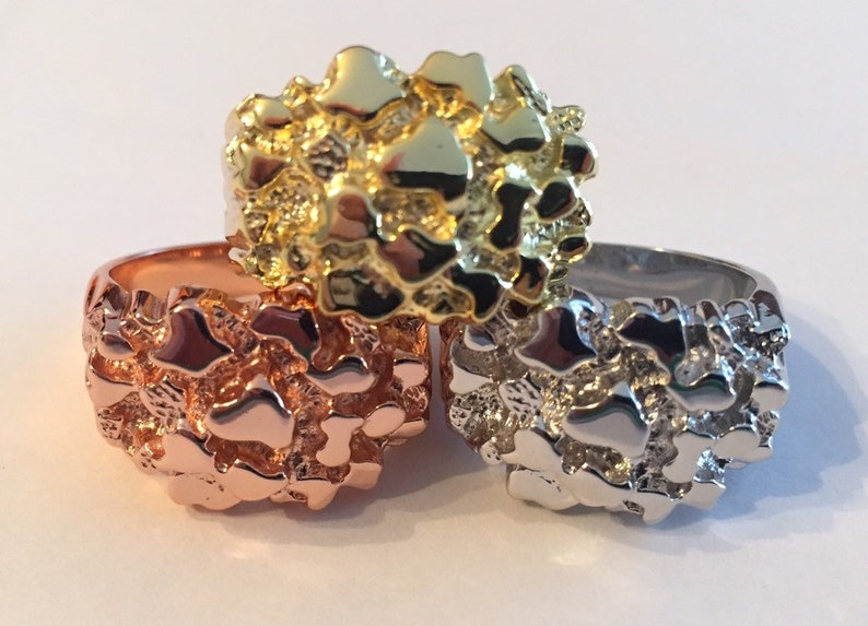 Men/'s Custom Iced out NUGGET Pinky Ring Gold over Solid 925 Sterling Silver Sizes 7-13