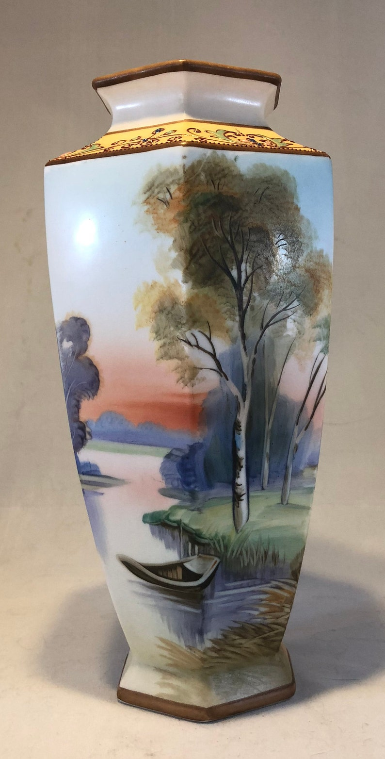 Antique Hand painted Nippon River Sunset Vase