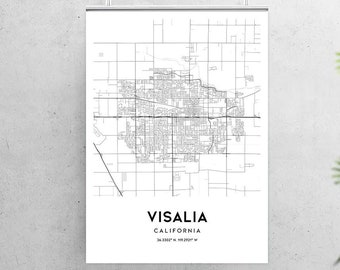 Map Of California Visalia.Visalia Maps Etsy