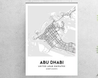Abu dhabi map poster | Etsy