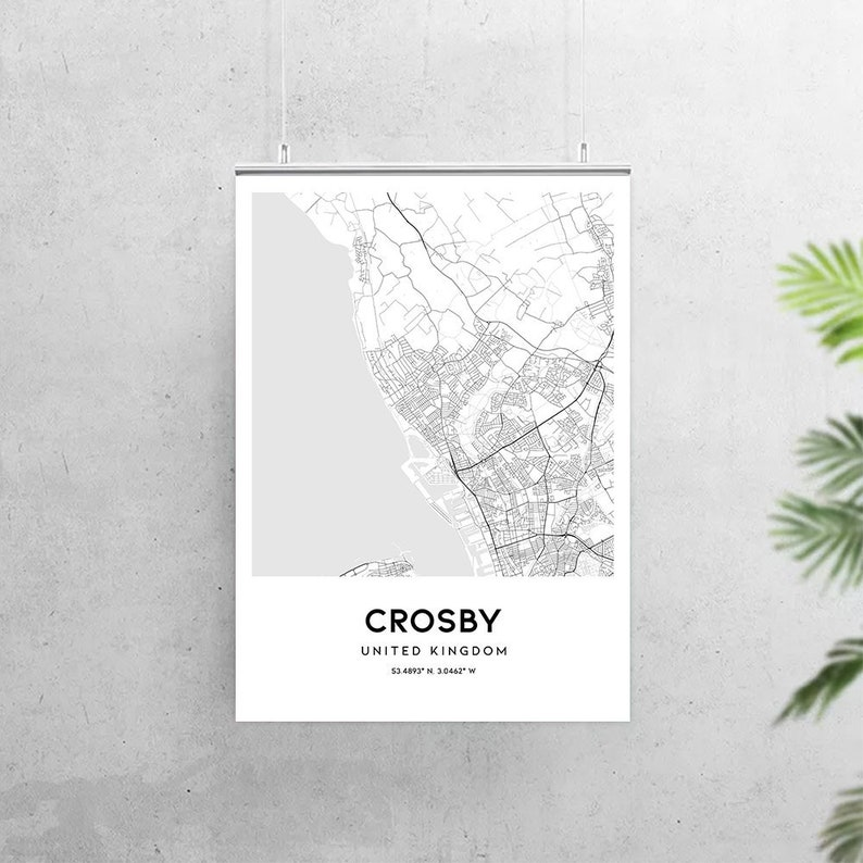 Map Of Uk For Printing.Crosby Map Poster Print Wall Art United Kingdom City Map Printable Download Gift Uk Crosby Map Print Street Road Map Decor N439