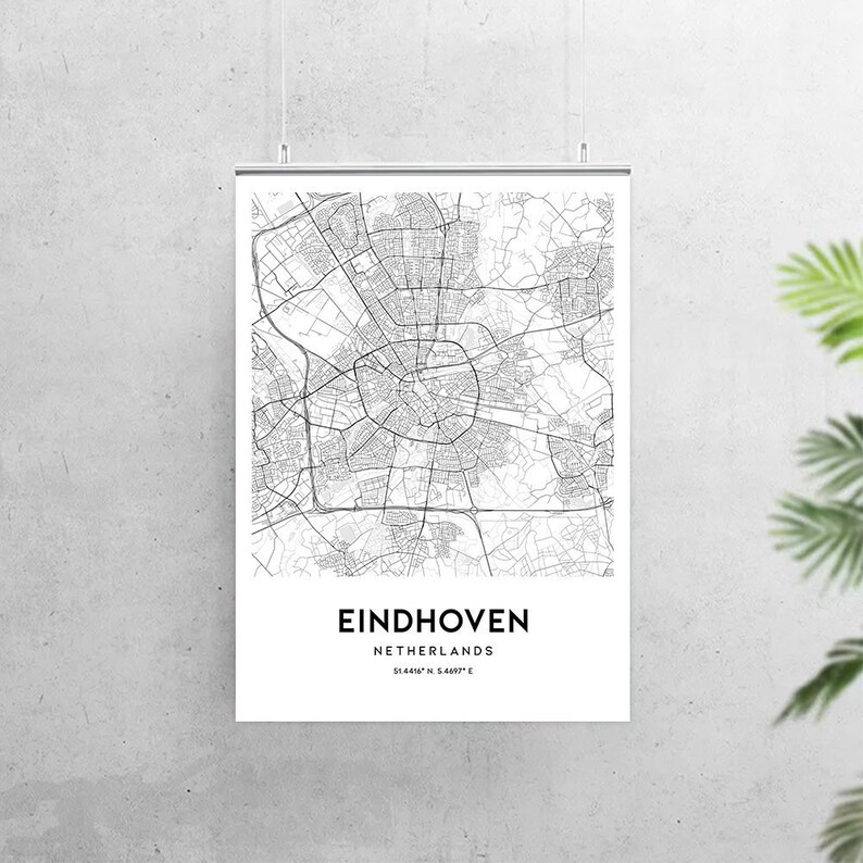 Eindhoven map poster print wall art Netherlands city map   Etsy