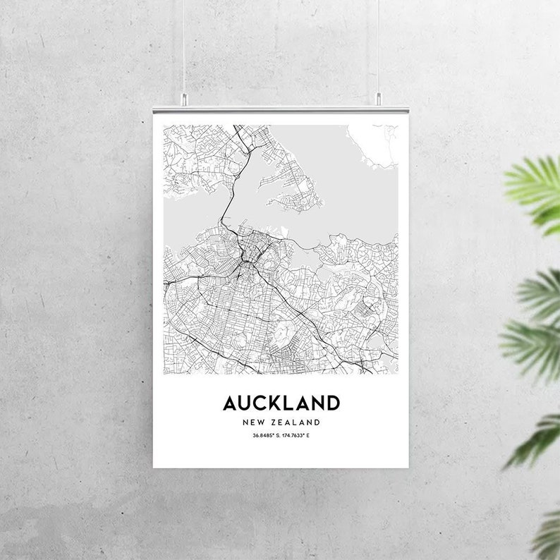 photo relating to New Zealand Map Printable called Auckland map poster print wall artwork, Fresh new Zealand town map printable obtain reward, Auckland map print highway street map decor, N164