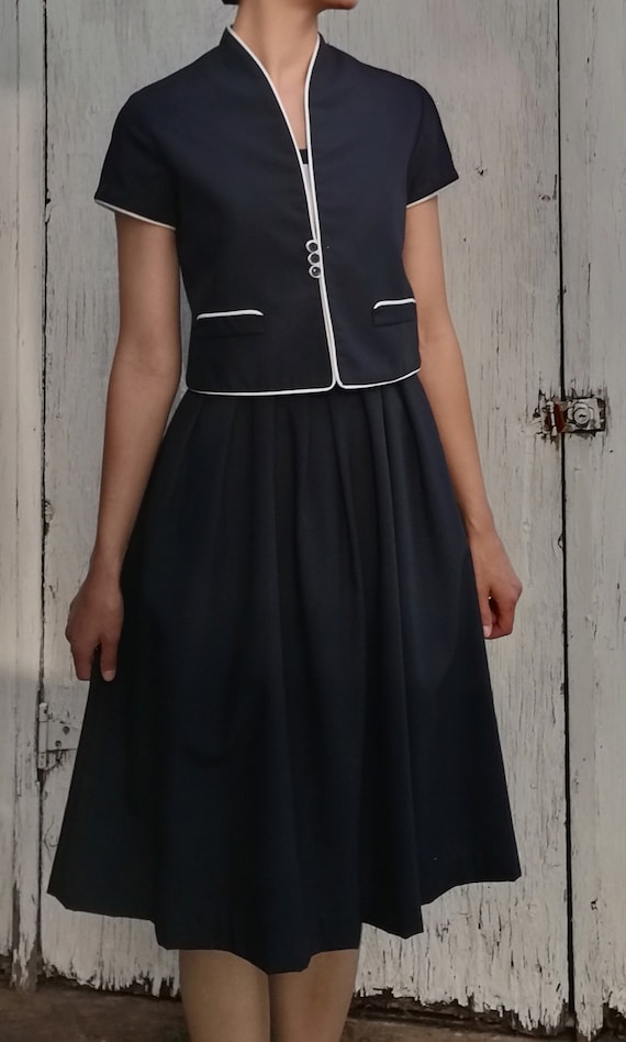 Vintage 1940's Navy Dress & Jacket