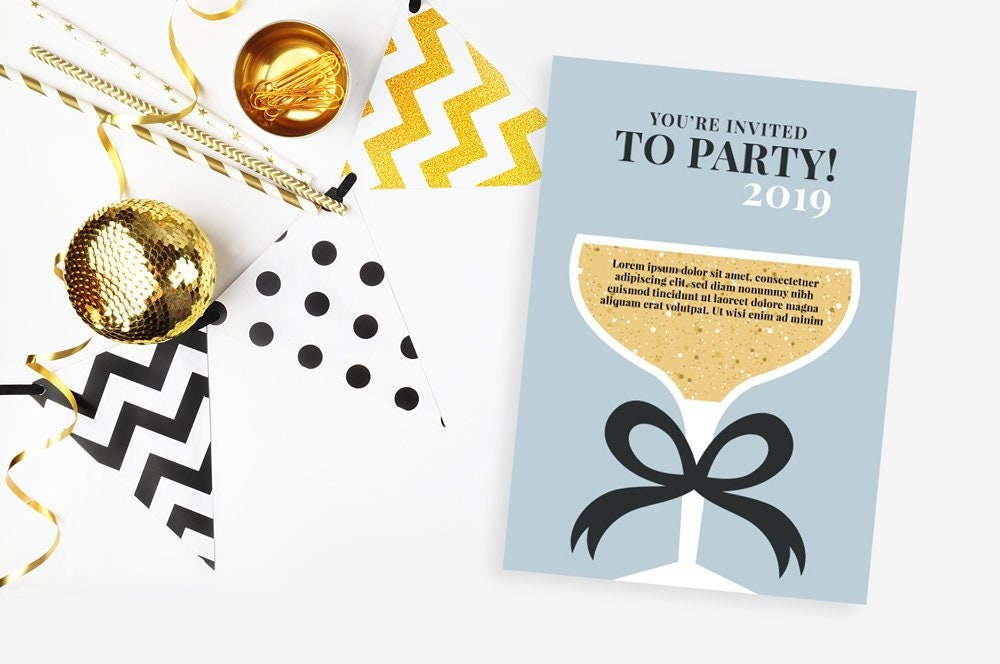 new years eve invite printable digital file new years eve party champagne glass gold glitter bow