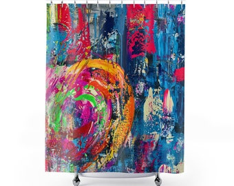 abstract shower curtain, graffiti decor, colorful bathroom decor, kids bathroom accessories, college dorm decor for girls, best sellers, new