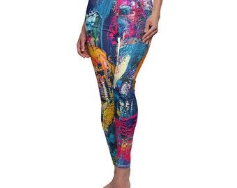 fitness leggings for her, birthday gift for bestie, yoga leggings women, active wear for her, graffiti clothing ,colorful leggings,