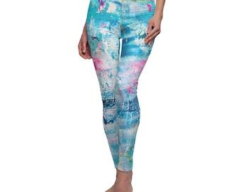 Fashion leggings for her, unique gift for her, blue yoga leggings for women, womens shapewear, festival clothing women, womens tights