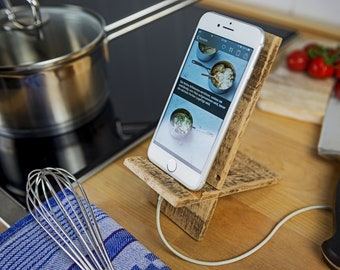 Reclaimed Wood Charging Station Docking Station for Mobile Phone Tablet Smartphone Android Dock, compatible with iPhone 6, &s, 7, 8, X, Samsung, LG wooden