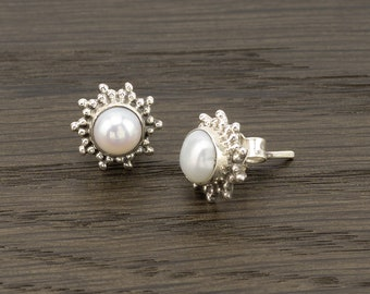 Silver Earrings Ethnic Boho Star Stud Pearl