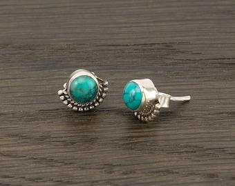 Turquoise Stud 925 Silver December Birthstone Earrings