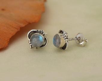 Moonstone Stud 925 Silver July Birthstone Earrings
