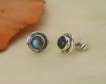 Labradorite Stud 925 Silver January Birthstone Earrings
