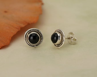 Onyx Stud 925 Silver February Birthstone Earrings