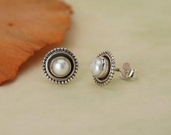 Pearl Stud 925 Silver June Birthstone Earrings