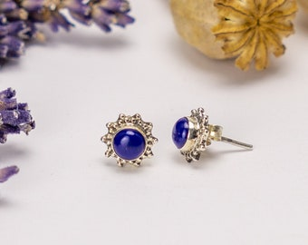 Lapis Lazuli Stud 925 Silver Sagittarius Zodiac Earrings