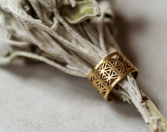 Brass Ring Flower of Life, golden Boho ornament jewelry Sacred Geometry adjustable size