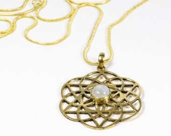 """Necklace """"Flower of Life"""" Brass Moon Stone Amethyst"""