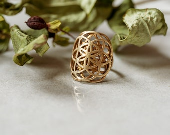 Brass Ring Flower of Life small, golden Boho ornament jewelry Sacred Geometry